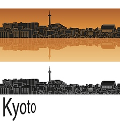 Kyoto skyline in orange vector image vector image
