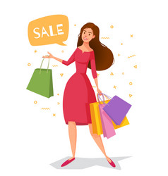 woman cartoon in a red dress with packages goes vector image vector image