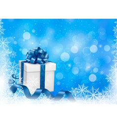 Christmas blue background with gift box and vector image vector image