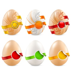 eggs with color ribbon vector image