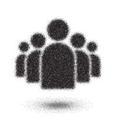 Group of People Dotwork Style Icon Halftone Group vector image