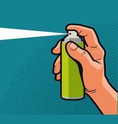 Spray in hand comics style design cartoon vector