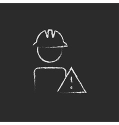 Worker with caution sign icon drawn in chalk vector image vector image