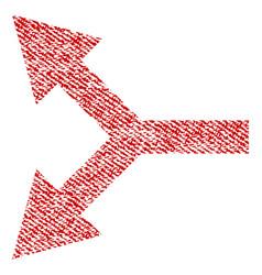 bifurcation arrow left fabric textured icon vector image vector image