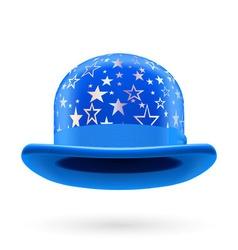 Blue starred bowler hat vector image