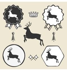 christmas reindeer silhouett symbol emblem label vector image