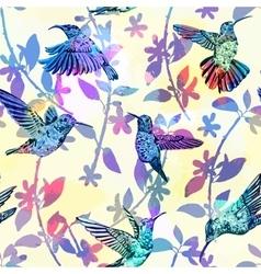 Hummingbird seamless pattern Hand drawn tropical vector image vector image