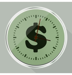 Round wall clock with long shadow vector image
