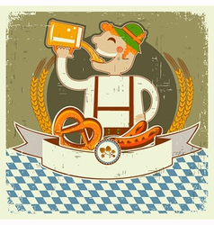 vintage oktoberfest posterl label with man and vector image