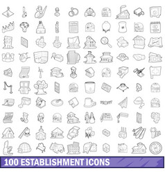 100 establishment icons set outline style vector image