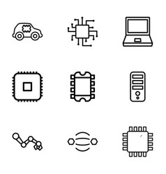 9 tech icons vector image