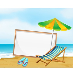 A beach with an empty whiteboard vector