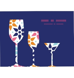 abstract colorful stars three wine glasses vector image