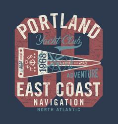 atlantic ocean yacht club navigation vector image
