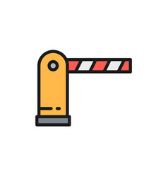 Automatic parking barrier flat color line icon vector