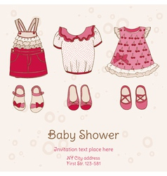 Baby Shower Card with Dresses vector