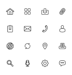 Black line simple web icon set vector