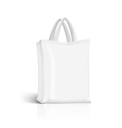 Blank white fabric canvas eco shopping bag vector
