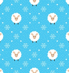Blue seamless pattern with cute sheep and vector image