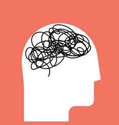 brain in white head silhouette concept vector image