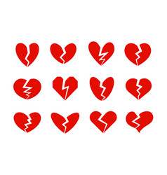 broken hearts icons collection heart crack vector image