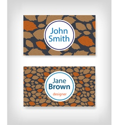 Business card design with fallen leaves vector
