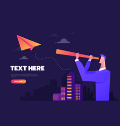 Businessman with spyglass on a paper airplane vector