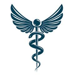 Caduceus symbol made using bird wings and vector
