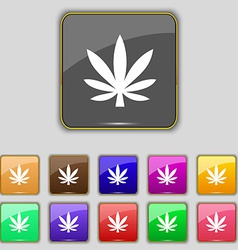 Cannabis leaf icon sign Set with eleven colored vector image