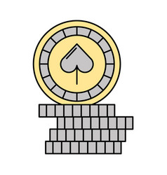 casino chips with spade vector image