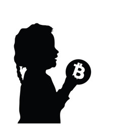 child silhouette with cryptocurrency icon vector image