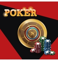 Chips and roulette for poker and casino game vector image