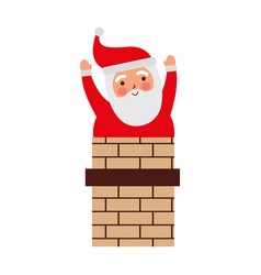 christmas santa claus in the chimney card vector image