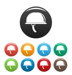climb helmet icons set color vector image