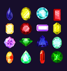 Colorful gems crystal jewels and diamond icons vector