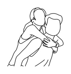 couple piggyback ride sketch doodle vector image