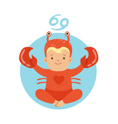 Cute little boy as cancer astrological sign vector