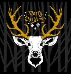 Deer head white silhouette vector