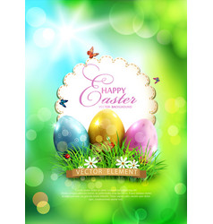 Easter background with eggs grass and round card vector