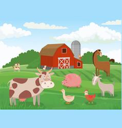 Farm animals village animal farms cows red barn vector