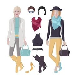 Fashion girls set vector image