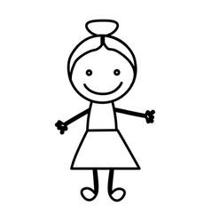 figure happy girl icon vector image