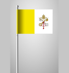 Flag of vatican city national flag on flagpole vector