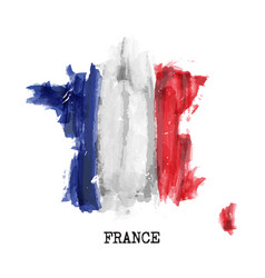 France flag watercolor painting design vector