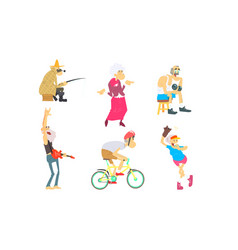funny elderly people performing different vector image