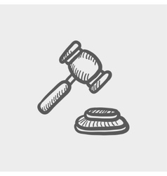 Gavel sketch icon vector