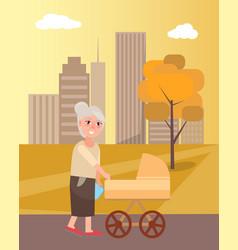 Grandmother walking with newborn toddler in pram vector