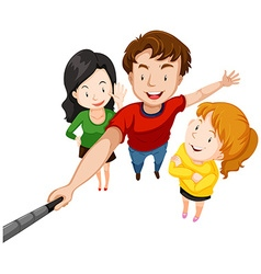 Group of people taking selfie with stick vector
