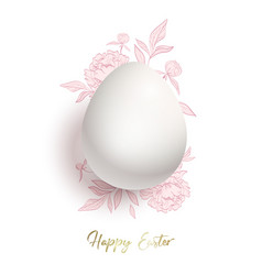 happy easter card egg and a cute pink bouquet of vector image