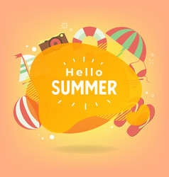 hello summer with colorful beach elements vector image